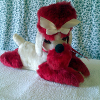 vintage antique sext felt eyes plush poodle red and white dog old stuffed animal mid century mod toy heavy cotton stuffing gift idea for her