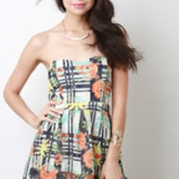 Women's Floral Grid Skater Dress