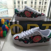 """""""GUCCI"""" Women Casual Multicolor Stripe Embroidery Flower Small White Shoes Plate Shoes Sneakers"""