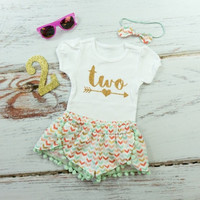 Girls 2nd Birthday Outfit | Girls Summer Birthday Outfit | Mint, Gold, Coral Broken Chevron Shorts with Mint Pom Pom Balls | Two With Arrow