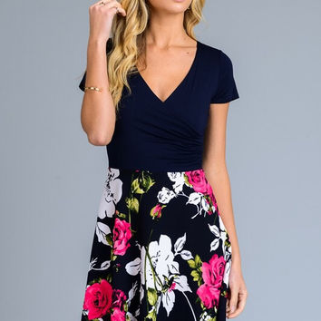 Smitten with Floral Dress - Navy and Fuchsia