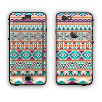 The Tan & Teal Aztec Pattern V4 Apple iPhone 6 Plus LifeProof Nuud Case Skin Set