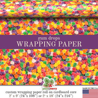 Gum Drops Candy Colorful Gift Wrapping Paper | Custom Photo Gum Drops Gift Wrap In Two Sizes Great For Any Occasion. Made In The USA