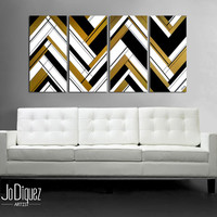 """Original abstract painting 51x24"""" 4 piece canvas art. Large painting. Black and gold. Geometric wall art. Modern wall art. Gold painting."""