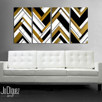 "Original abstract painting 51x24"" 4 piece canvas art. Large painting. Black and gold. Geometric wall art. Modern wall art. Gold painting."