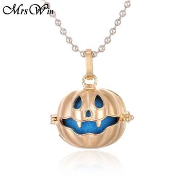New Aroma Diffuser Necklace Pumpkin Lockets Pendant Perfume Essential Oil Aromatherapy Locket Necklace With Pads Halloween Gift