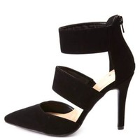 Single Sole Two-Band Pointed Toe Pumps by Charlotte Russe - Black