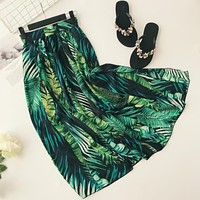 Vintacy women long skirt Green spring summer party maxi skirt fashion long women patchwork skirts office lady boho Plant Skirt