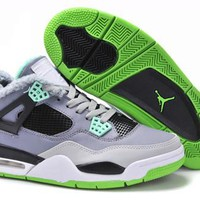 Cheap Nike Air Jordan 4 Men Shoes Green Grey Black Inside Fur