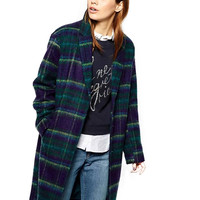 Notched Collar Long Sleeves Plaid Coat