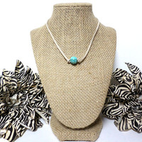 Turquoise khaki suede leather choker necklace, turquoise knotted genuine leather, turquoise bead, suede leather cord, gift
