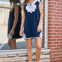 Bold New World Dress, Navy