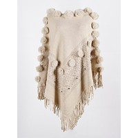 Tassel Cashmere Faux Fur Ball Poncho Knit Pullovers