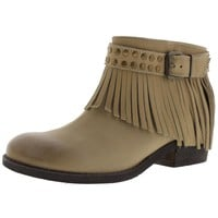 Naughty Monkey Womens Amiggo Leather Fringe Ankle Boots