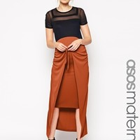 ASOS Maternity Maxi Skirt With Wrap Tie Front