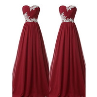 Back Up Lace Burgundy Prom Dresses