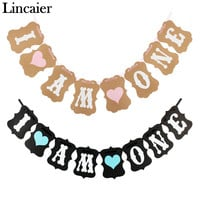 Lincaier I Am One Banner My 1st Birthday Baby Boy Girl Party Decorations First Year Kraft Paper Garland Bunting Pink Blue