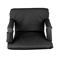 Outdoor Indoor Adjustable Floor Chair Five-Position Multiangle Stadium Seat Padded Recliner Gaming Chair with Back Support, Armrest and Two Pockets (Elegant Black) Elegant Black