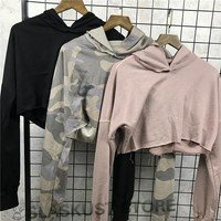2017 Ladies Hiphop Distressed Crop Top Camouflage Sexy Hoodies Raw Edges Relaxed Fit Kpop Pullovers Free Shipping