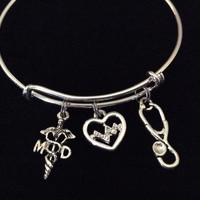 MD  Silver Charm Bracelet Expandable Adjustable Silver Wire Bangle