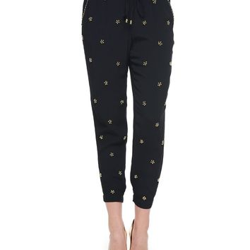 Pitch Black Embellished Harem Pant by Juicy Couture,