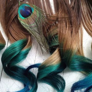 Peacock Ombre Hair Extensions   ombrehair ArtFire Gallery