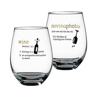 Stemless Wine Definitions Glasses Set of 2