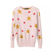 Star Pattern Long Sleeve Pullovers Knitted Sweater Tops