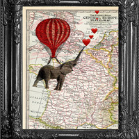 Dictionary Print-Print On Europe Map-Hot Air Balloon Elephant Love Print-Home Dorm Wall Decor- Antique Book Page-Print On Dictionary