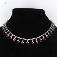11ct Ruby 7.12ct Diamond Fringe Necklace Vintage 18 Karat White Gold Estate Jewelry