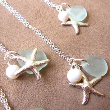 Nautical Necklace for Bridesmaids in Beach Wedding- Seaglass Starfish Neckalce with swarovski pearl - FREE SHIPPING