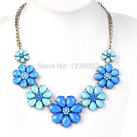 Vintage New costume jewelry Fashion candy crystal Cute accessories Blue flowers long statement Necklaces