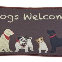 """""""DOGS WELCOME"""" on Brown Canvas Pillow 12""""L X 24""""W"""