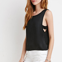 Satin Side-Cutout Blouse