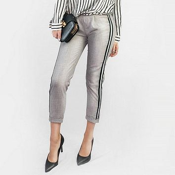 Tangada women elegant side stripe black pants elastic waist ladies autumn casual green gray korean fashion trousers mujer HY81