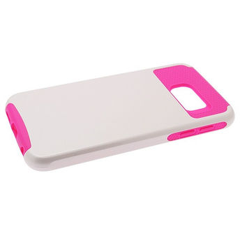 Samsung Galaxy S6 Hybrid Case Hot Pink TPU White Hard Cover