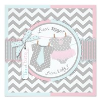 Tie or Tutu & Chevron Print Gender Reveal Party 5.25x5.25 Square Paper Invitation Card