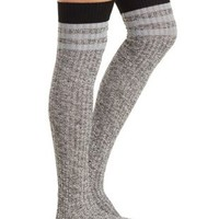 Black Combo Marled & Striped Over-the-Knee Socks by Charlotte Russe