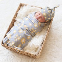 Baby Swaddles with Hat Wrap Blankets  Newest Fashion Baby Newborn  Infant Girls Boys Flower Print Baby Bedding Swaddle+Hat