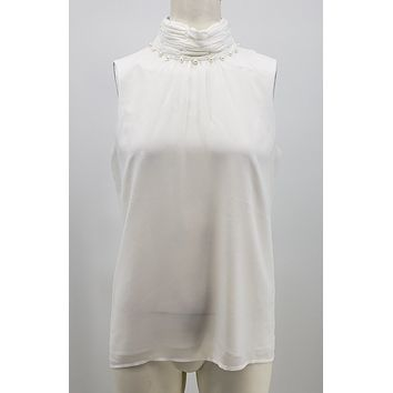 Karl Lagerfeld Paris High Neck Blouse With Pearl Embellishment