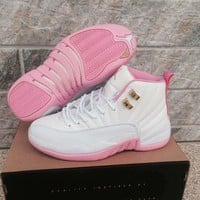 Air Jordan 12 Retro AJ 12 White/Pink Women Basketball Shoes