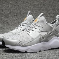 Best Online Sale Nike Air Huarache 4 Run Rainbow Ultra Breathe Women Men Silver Running Sport Casual Shoes Sneakers - 925