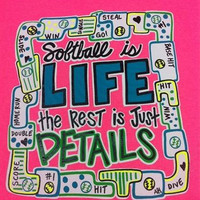 Southern Chics Funny Softball Life Rest Details Girlie Bright T Shirt