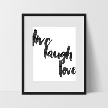 Motivational Wall Art in Wood, Live Laugh Love, Dorm Room Art, For The Home, Minimalist