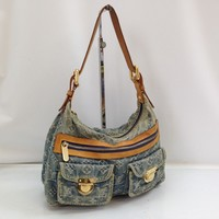 Auth LOUIS VUITTON Monogram Denim Baggy PM Shoulder Bag 8C230490#