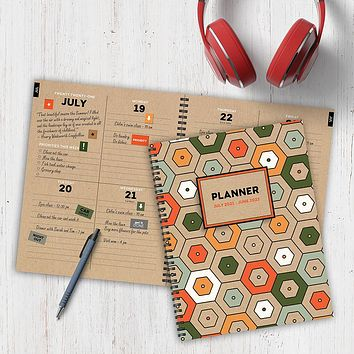 July 2021-June 2022 Hex Colors Large Daily Weekly Monthly Planner + Coordinating Planning Stickers