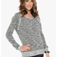 Heather Black Take Me Textured Knit Top   $10.00   Cheap Trendy Blouses Chic Discount Fashion for
