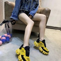 PRADA Women trending Casual Sneakers Sport Shoes running outdoor shoes boots Size 36-40 yellow