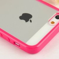 Zeimax® iPhone 5 5S Blurred Clear Back Cover Transparent Case, Silicone + TPU Hot Pink