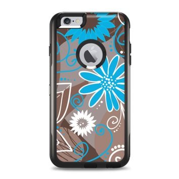 The Brown Surface with Blue and White Whymsical Floral Pattern Apple iPhone 6 Plus Otterbox Commuter Case Skin